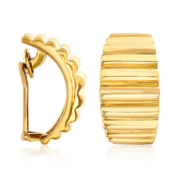 "C. 1980 Vintage Tiffany Jewelry 18kt Yellow Gold Ridged Clip-On J-Hoop Earrings. 3/4"""