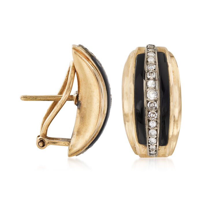C. 1960 Vintage Onyx Earrings with .50 ct. t.w. Diamonds in 18kt Yellow Gold