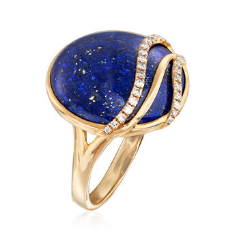 18x18mm Lapis and .18 ct. t.w. Diamond Wave Ring in 14kt Yellow Gold, , default
