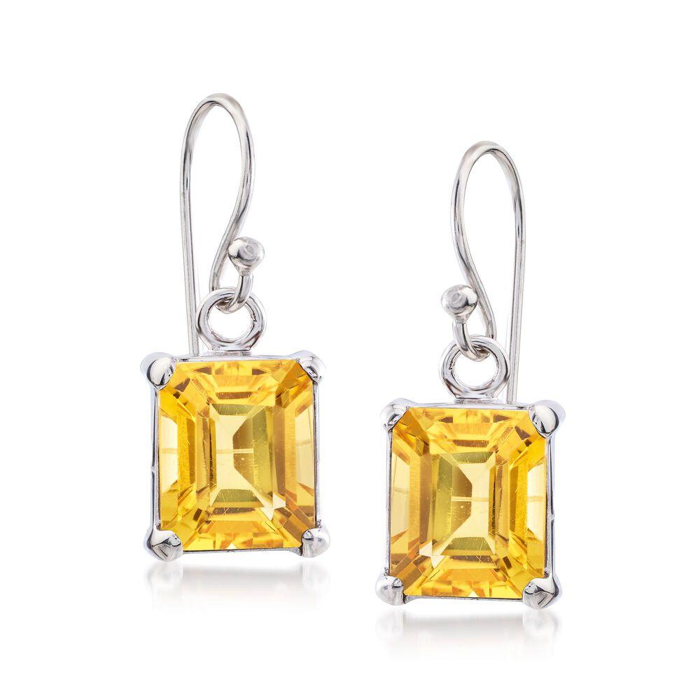 T W Emerald Cut Citrine Drop Earrings In Sterling Silver Default