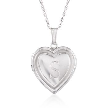 "Sterling Silver Single Initial Heart Locket Necklace. 18"", , default"