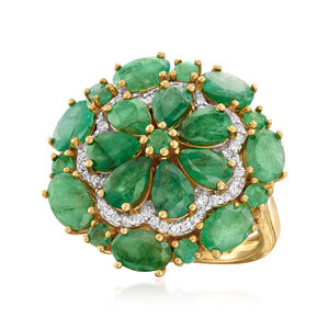 6.10 ct. t.w. Emerald and .20 ct. t.w. White Zircon Floral Ring in 18kt Gold Over Sterling #921548