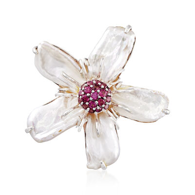 10-18mm Cultured Baroque Pearl and 1.50 ct. t.w. Rhodolite Garnet Flower Pin in Sterling Silver, , default