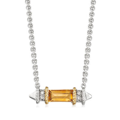 "Andrea Candela ""La Romana"" .44 Carat Citrine Necklace in Sterling Silver and 18kt Yellow Gold"