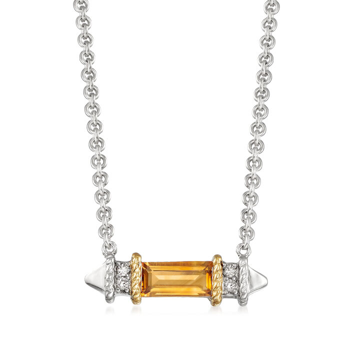 """Andrea Candela """"La Romana"""" .44 Carat Citrine Necklace in Sterling Silver and 18kt Yellow Gold"""