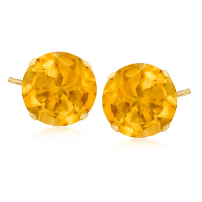 6.20 ct. t.w. Citrine Stud Earrings in 14kt Yellow Gold