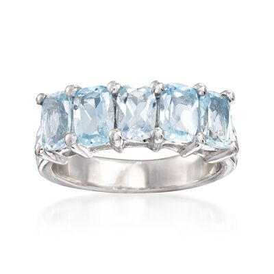 2.80 ct. t.w. Cushion-Cut Blue Topaz Ring in Sterling Silver, , default