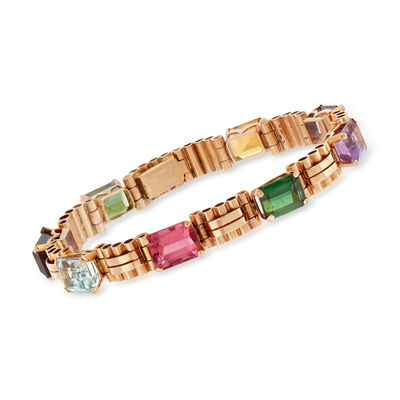 C. 1940 Vintage 19.25 ct. t.w. Multi-Gemstone Bracelet in 14kt Rose Gold, , default