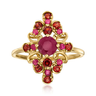 .90 ct. t.w. Ruby and .50 ct. t.w. Garnet Ring in 14kt Yellow Gold