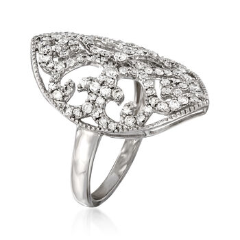1.00 ct. t.w. Diamond Scrollwork Ring in Sterling Silver, , default