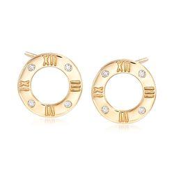 .10 ct. t.w. Diamond Roman Numeral Earrings in 14kt Yellow Gold , , default