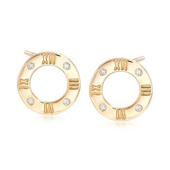 .10 ct. t.w. Diamond Roman Numeral Earrings in 14kt Yellow Gold., , default
