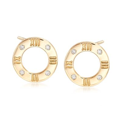 .10 ct. t.w. Diamond Roman Numeral Earrings in 14kt Yellow Gold , , default