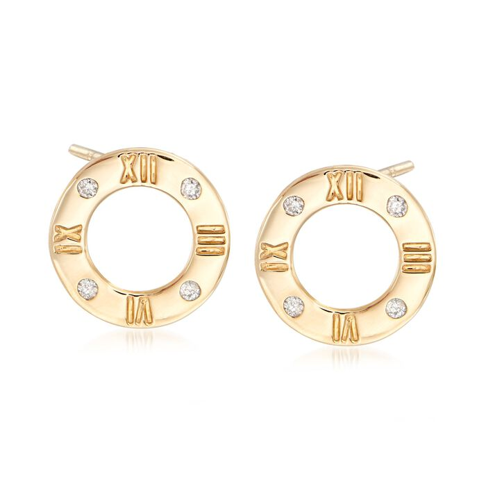 .10 ct. t.w. Diamond Roman Numeral Earrings in 14kt Yellow Gold., , default
