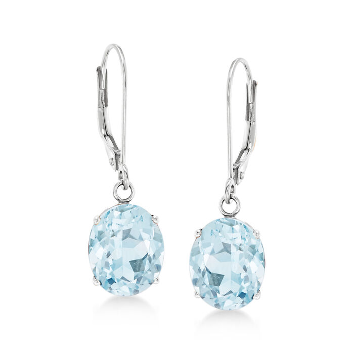 4.50 ct. t.w. Aquamarine Drop Earrings in 14kt White Gold, , default