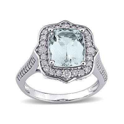 3.52 Carat Aquamarine and .64 ct. t.w. Diamond Vintage-Style Halo Ring in 14kt White Gold