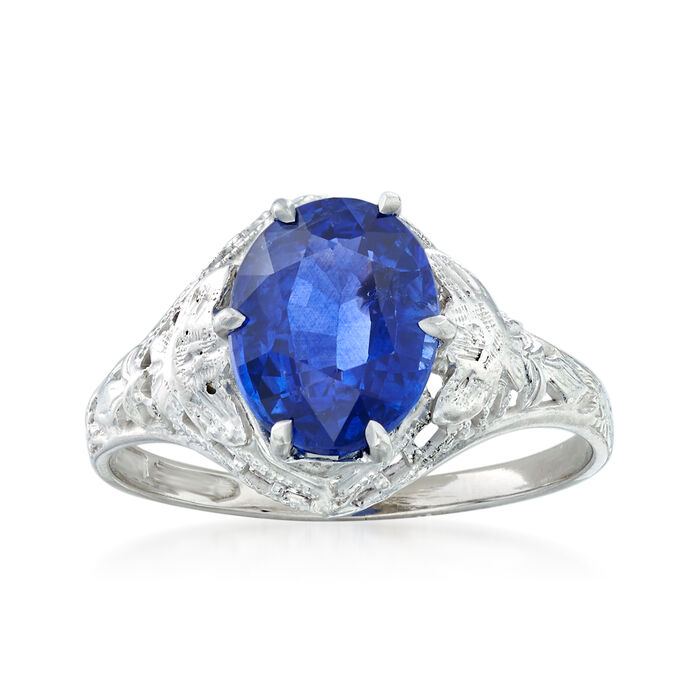 C. 1990 Vintage 2.15 Carat Sapphire Ring in 14kt White Gold. Size 5, , default