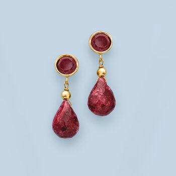 5.50 ct. t.w. Ruby Drop Earrings in 14kt Yellow Gold , , default