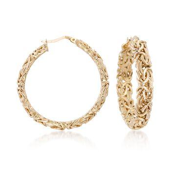 """14kt Yellow Gold Byzantine Hoop Earrings. 1 3/8"""", , default"""