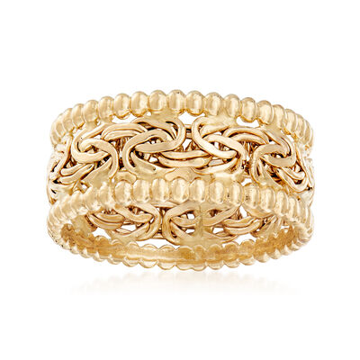 14kt Yellow Gold Beaded Border Byzantine Ring, , default