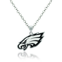 "Sterling Silver NFL Philadelphia Eagles Enamel Pendant Necklace. 18"", , default"