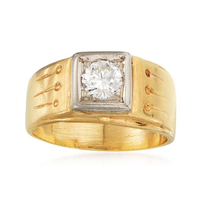 C. 1960 Vintage .50 Carat Diamond Ring in 14kt Yellow Gold. Size 6.5, , default