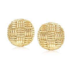 Italian 14kt Yellow Gold Basketweave Clip-On Earrings, , default