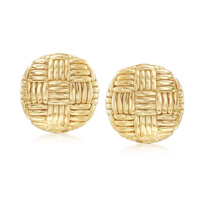 Italian 14kt Yellow Gold Basketweave Clip-On Earrings, , default