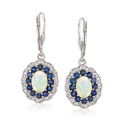 Opal, 1.30 ct. t.w. Sapphire and .30 ct. t.w. Topaz Drop Earrings in Sterling Silver, , default
