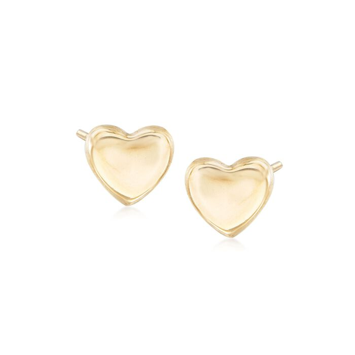 Italian 14kt Yellow Gold Heart Stud Earrings , , default
