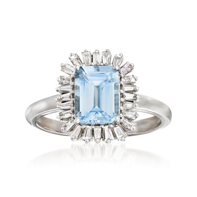 1.40 Carat Aquamarine and .36 ct. t.w. Diamond Ring in 14kt White Gold, , default