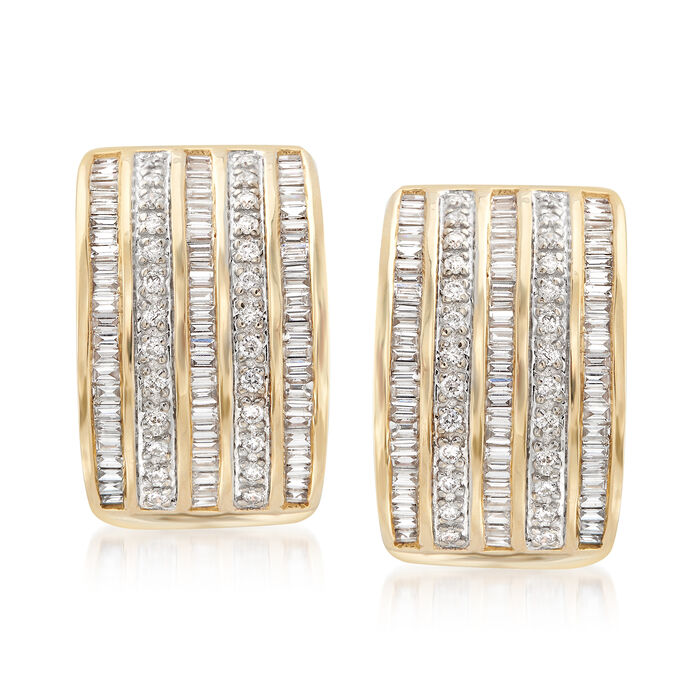 1.22 ct. t.w. Diamond Multi-Row Drop Earrings in 14kt Yellow Gold