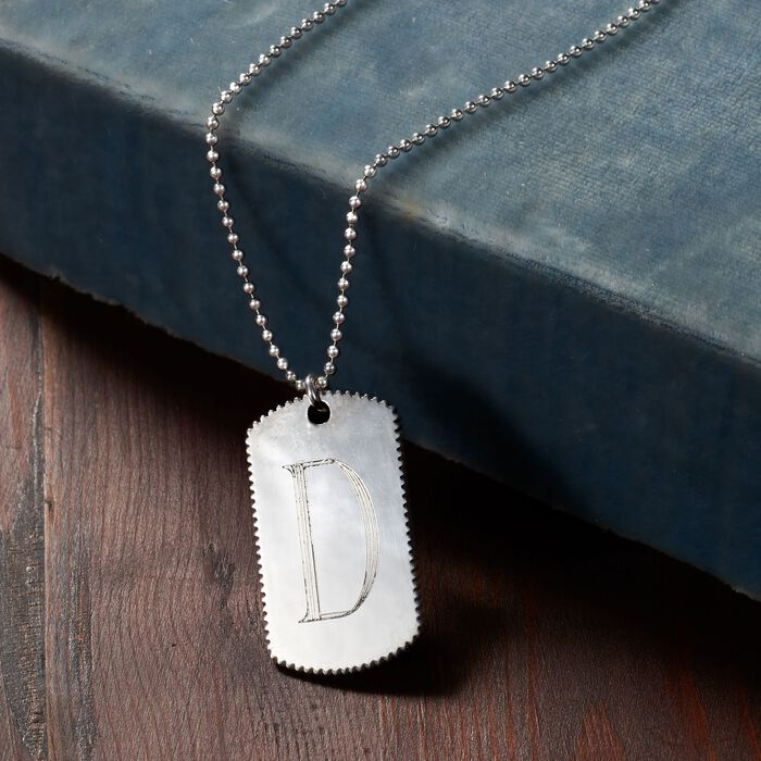 Italian Sterling Silver Single Initial Tag Necklace