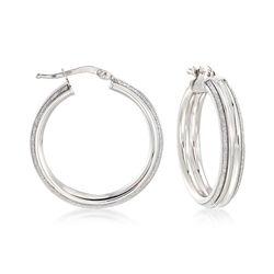 Italian Sterling Silver Hoop Earrings With Silvertone Glitter, , default