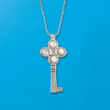 "Italian Sterling Silver Key Pendant Necklace with Mother-Of-Pearl. 18"", , default"