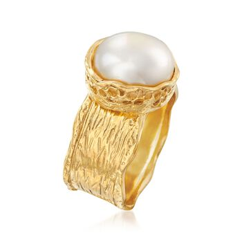 11.5-12mm Cultured Button Pearl Ring in 18kt Yellow Gold Over Sterling, , default