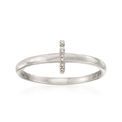 "Diamond Accent Mini Initial ""I"" Ring in Sterling Silver, , default"