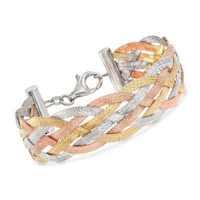 Italian Tri-Colored Sterling Silver Reversible Braid Bracelet, , default