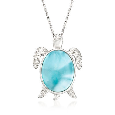 Larimar Sea Turtle Pendant Necklace in Sterling Silver