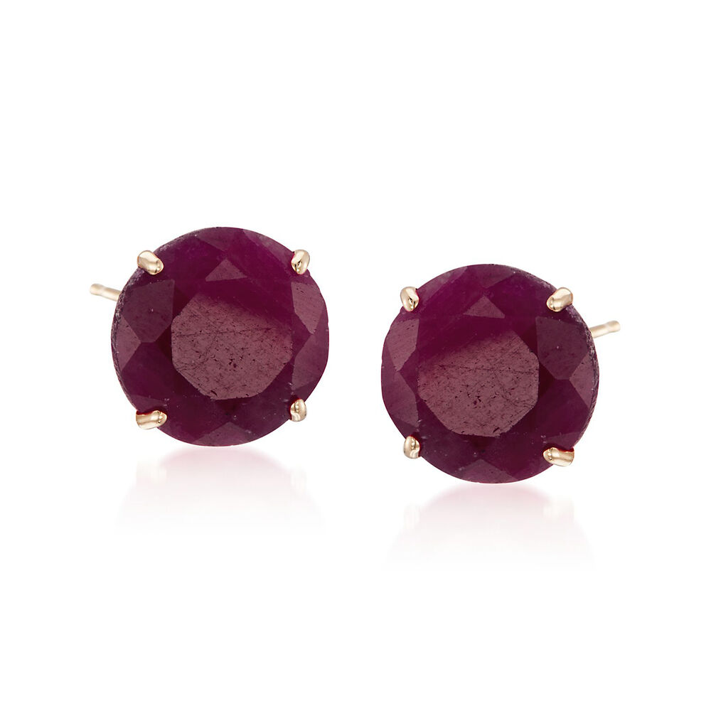 T W Ruby Stud Earrings In 14kt Yellow Gold Default