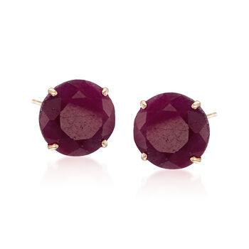 6.50 ct. t.w. Ruby Stud Earrings in 14kt Yellow Gold, , default