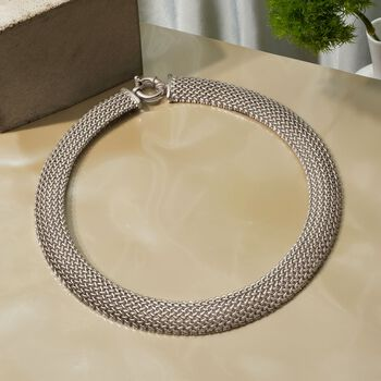 """Italian Sterling Silver Riso Collar Necklace. 18"""", , default"""