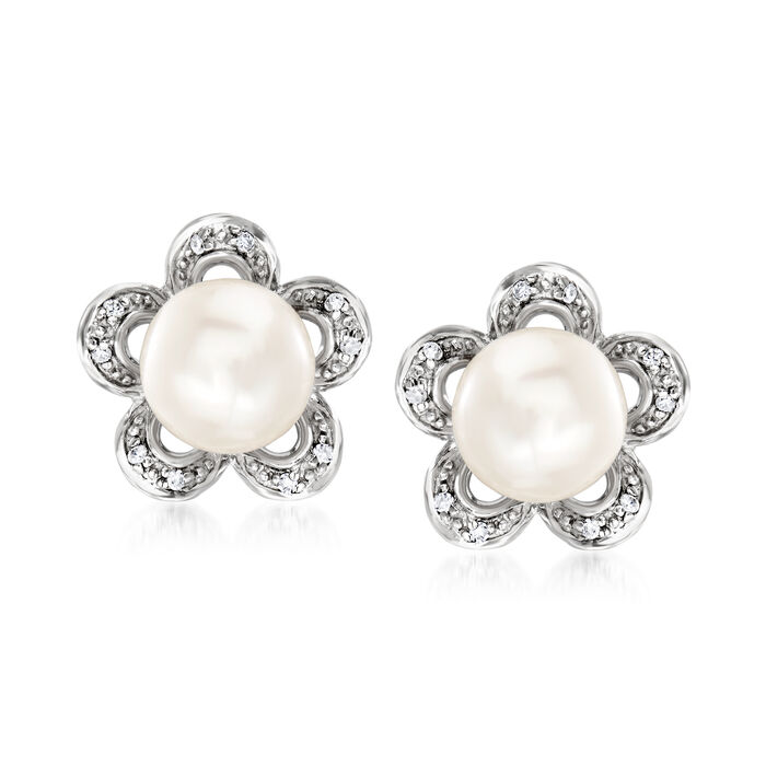 7-7.5mm Cultured Pearl Flower Earrings with Diamond Accents in Sterling Silver