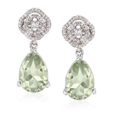 7.75 ct. t.w. Green Prasiolite and .60 ct. t.w. White Zircon Drop Earrings in Sterling Silver, , default