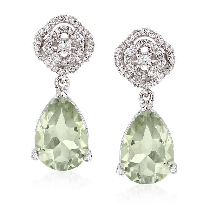 7.75 ct. t.w. Green Prasiolite and .60 ct. t.w. White Zircon Drop Earrings in Sterling Silver