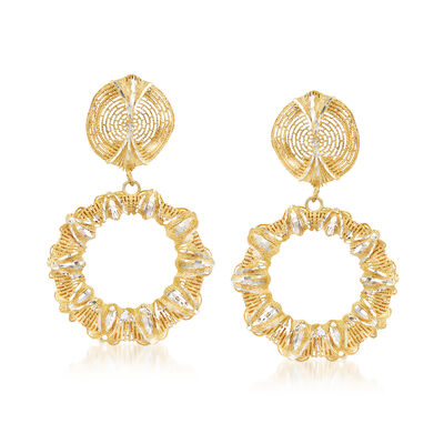 Italian Sterling Silver and 18kt Gold Over Sterling Filigree Open Circle Drop Earrings, , default
