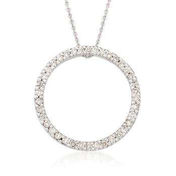 "Roberto Coin .42 ct. t.w. Diamond Open Circle Necklace in 18kt White Gold. 18"", , default"