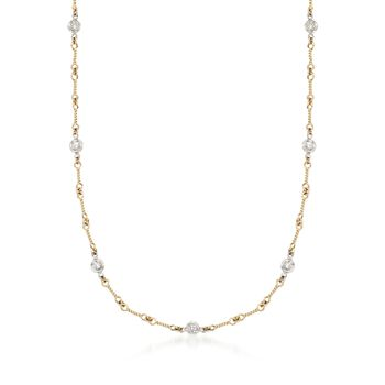 Roberto Coin .28 ct. t.w. Diamond Twist Link Necklace in 18kt Two-Tone Gold, , default