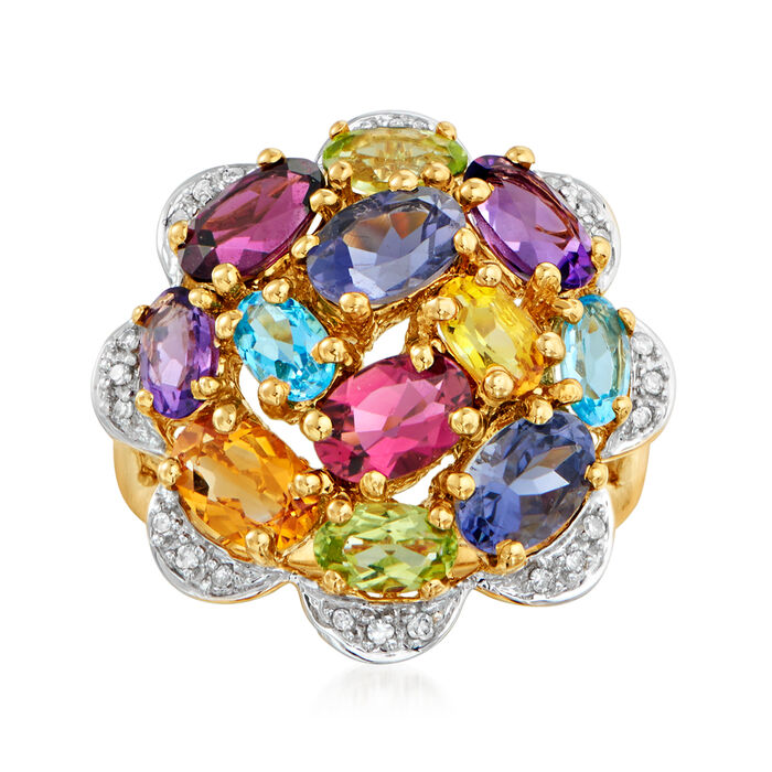 C. 1990 Vintage 3.43 ct. t.w. Multi-Gemstone and .12 ct. t.w. Diamond Cluster Ring in 14kt Yellow Gold. Size 5, , default