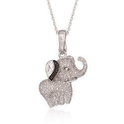 ".18 ct. t.w. Diamond Elephant Pendant Slide Necklace in Sterling Silver. 18"", , default"